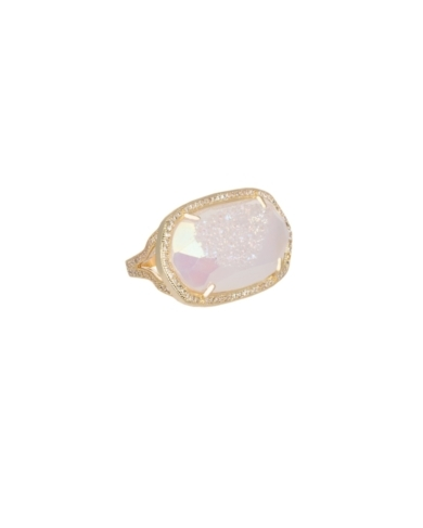 Pave Oval Cocktail Ring in Iridescent Drusy - 6