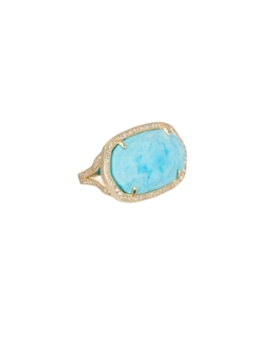 Pave Oval Cocktail Ring in Turquoise Magnesite - 6