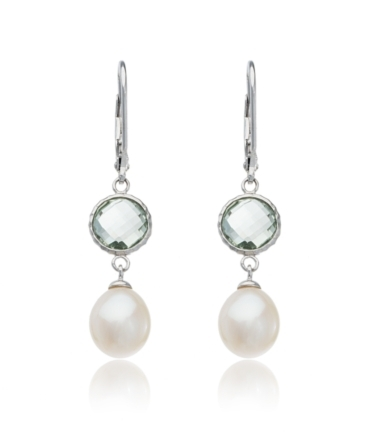 Thomas Laine Pearl Pearl and Green Amethyst Sterling Silver Drop Earri