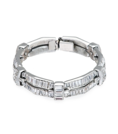 Bridal Crystal Double Row Baguette Bracelet