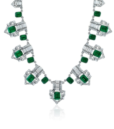 Deco Crystal and Emerald Statement Necklace