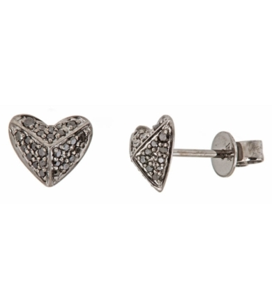 Diamond Heart Pyramid Earrings