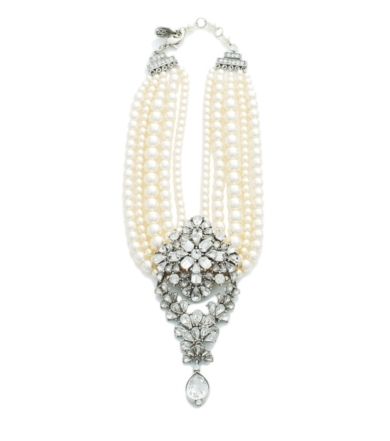 Five Row Pearl and Crystal Fan Teardrop Statement Necklace