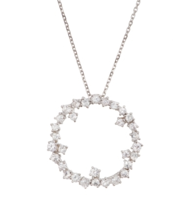 Floating White Sapphire Starburst Mini Circle Necklace