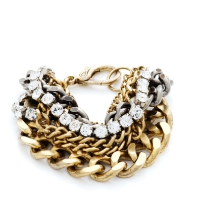 Gold Steel Crystal Bracelet