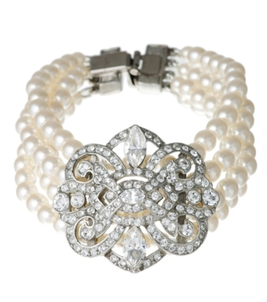 Pearl and Vintage Deco Crystal Bracelet