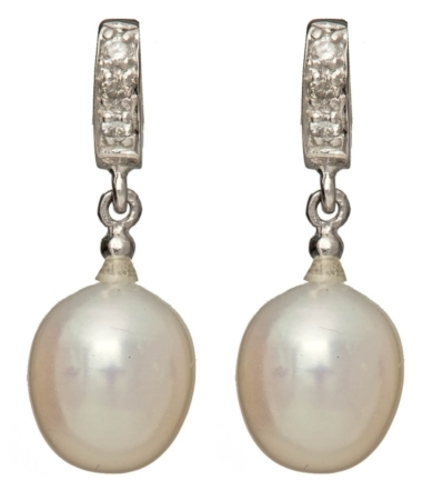 Pearl Diamond Drop Earring