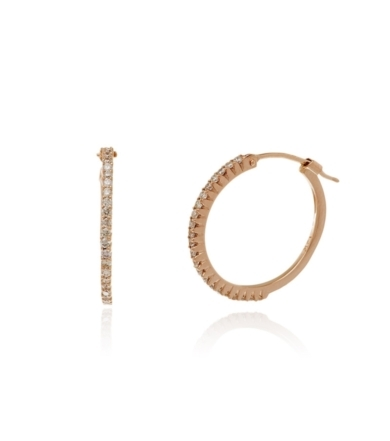 Rose Gold and Diamond Hoops- Small
