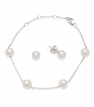 Sterling Silver Pearl Set- Earring and Bracelet