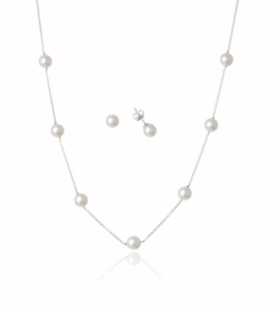 Sterling Silver Pearl Set- Earring and Necklace