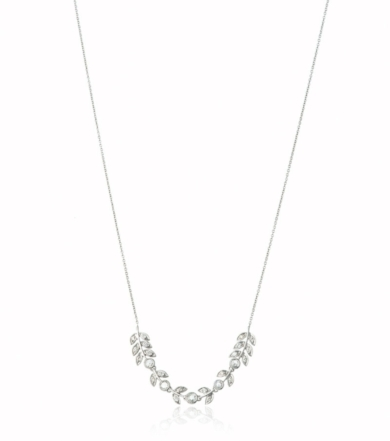 White Gold and Rose Cut Diamond Leaf Necklace