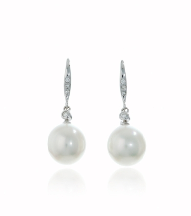 White Gold Pearl and Diamond Earrings