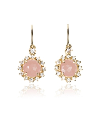 Yellow Gold Rose Quartz and White Sapphire Starburst Drop Earrings