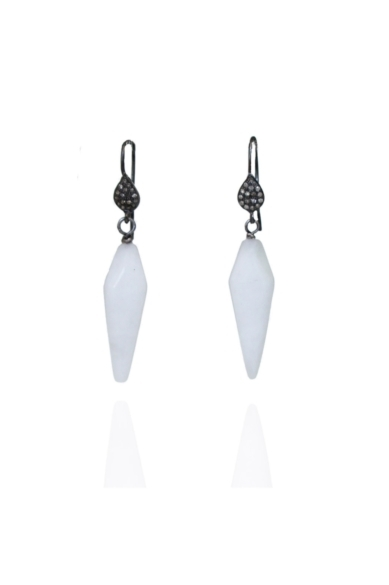 Triangular White Earrings