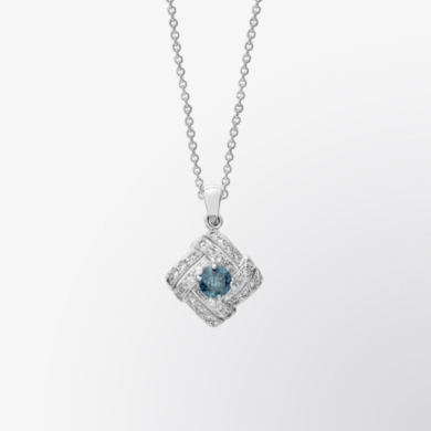 Blue Diamond and Diamond Pendant