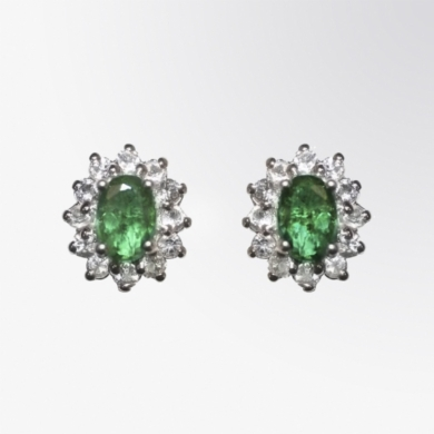 Emerald and White Topaz Earrings