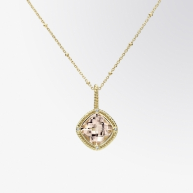 Morganite and Diamond Cable Pendant