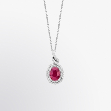 Oval Shaped Ruby and Diamond Halo Pendant