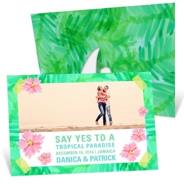 Tropical Setting Picture Frame -- Save the Date Cards