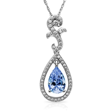 Diamonvita Couture Pear-Shaped Swarovski Zirconia Pendant in Sterling Silver