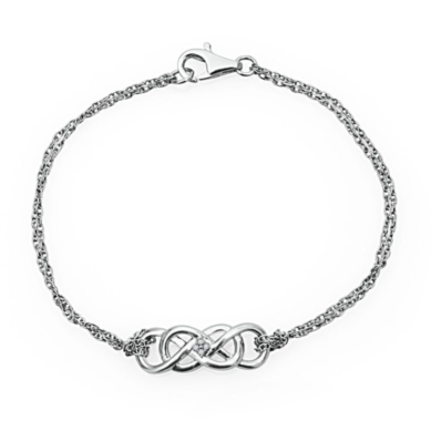 Infinity X InfinityTM Bracelet with Diamond Accents in Sterling Silver