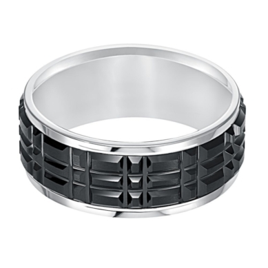 Men's Two-Tone Textured Band in Tungsten Carbide, 9MM