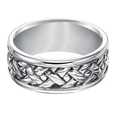 Men's Woven Band in Sterling Silver, 9MM