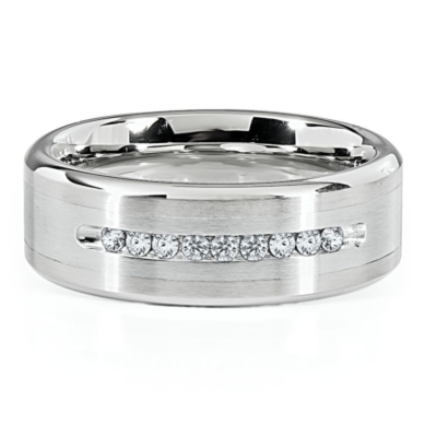 Stainless Steel 1/5ct TW Round Diamond 8mm Men's Band, Size 10