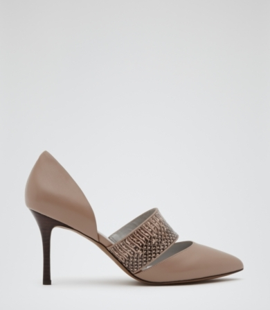 Reiss Cinzia Snake Strap Court Shoes