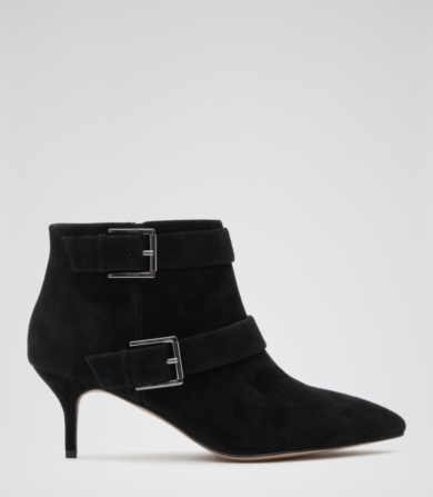 Reiss Kiera Buckled Suede Boots