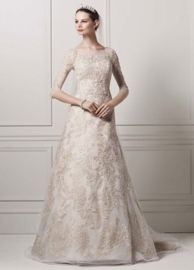 3/4 Illusion Sleeve Lace A-line Gown