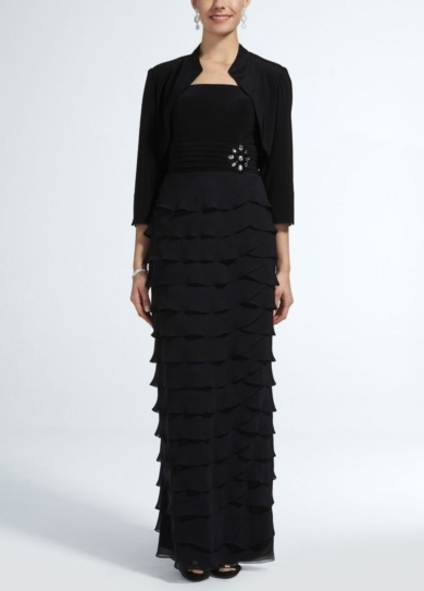 3/4 Sleeve Chiffon Jacket and Tiered Jersey Dress