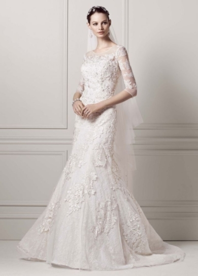3/4 Sleeve Lace Trumpet Gown