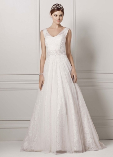 A-Line Lace Tank Gown with Beaded Waist