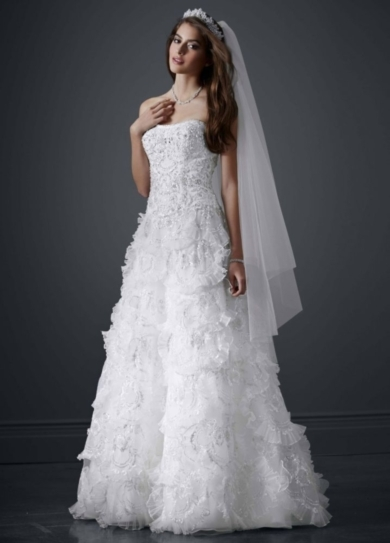 Beaded Wedding Gown with Tiered Scallop Skirt