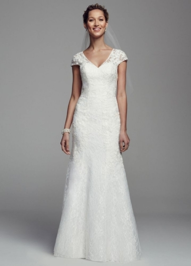 Cap Sleeve All Over Lace Trumpet Gown