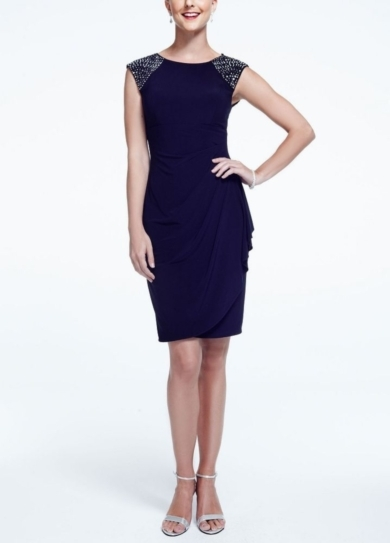 Cap Sleeve Jersey Dress with Beaded Shoulders