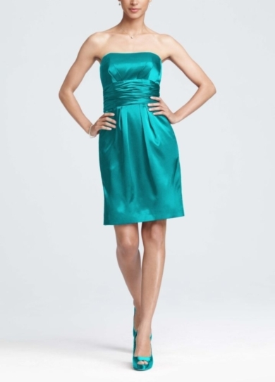Charmeuse Short Dress with Ruched Waist and Pocket
