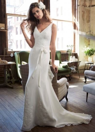 Chiffon Wedding Gown with Ruffle Detail and Lace