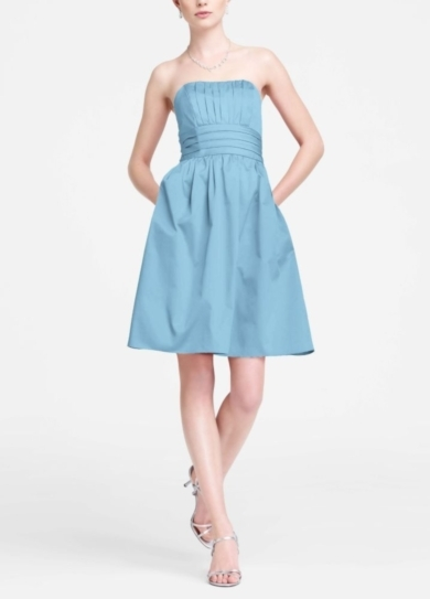 Cotton Sateen Short Strapless Ruched Dress