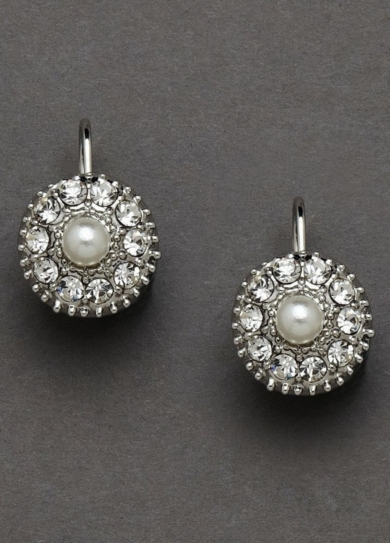 Crystal Button Earrings with Pearl Center
