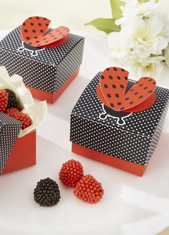 Cute as a Bug 3D Wing Ladybug Favor Box Set of 24