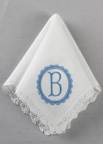 DB Exc Personalized Embroidered Oval Border Hankie