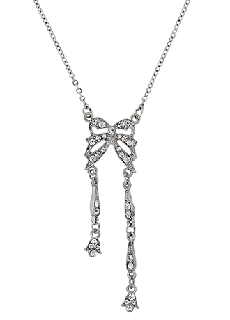 Downton Abbey Jeweled Silver Bow Necklace
