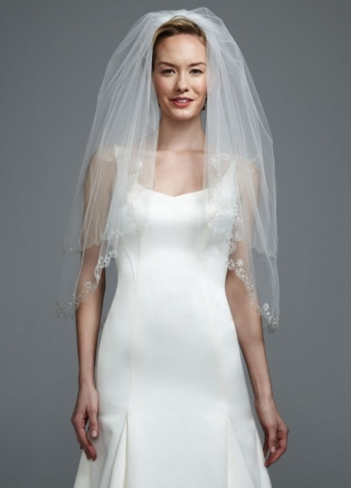 Fingertip Length Two-Tier Veil with Scallop Edge