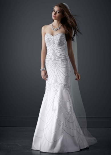 Fit-and-Flare Sweetheart Gown with Allover Beading
