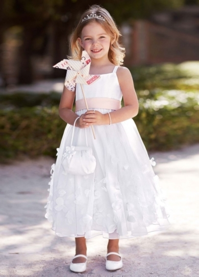 Flower Girl Spaghetti Strap Organza Gown with 3D Petal Detail