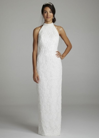 Lace Halter Gown with Sweep Train