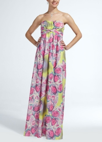Long Strapless Printed Chiffon Dress