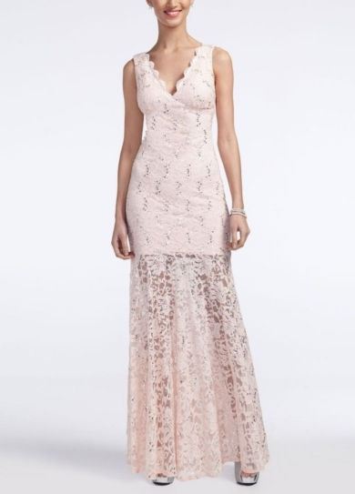 Long V Neck Stretch Lace and Sequin Dress